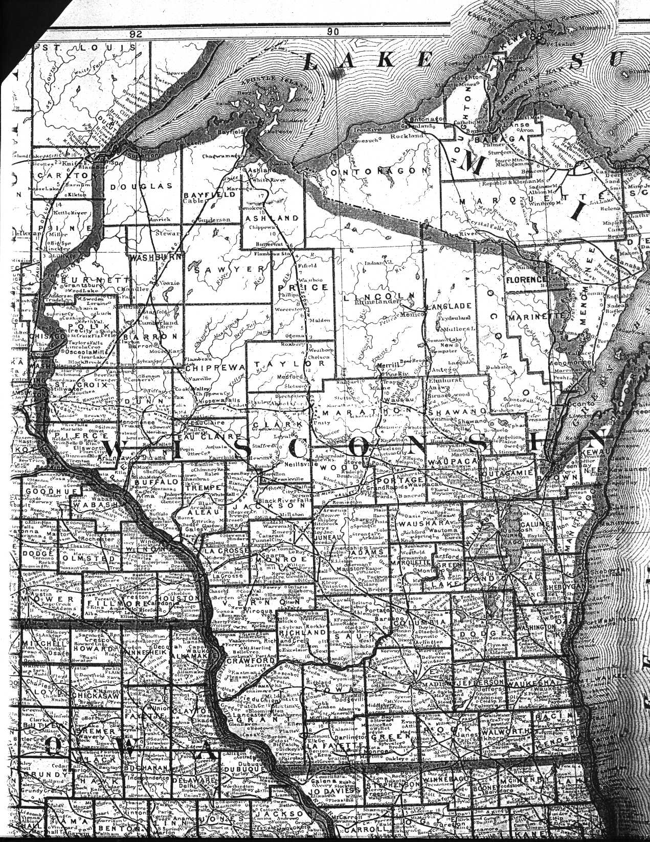 Wisconsin County Map - Map of wi